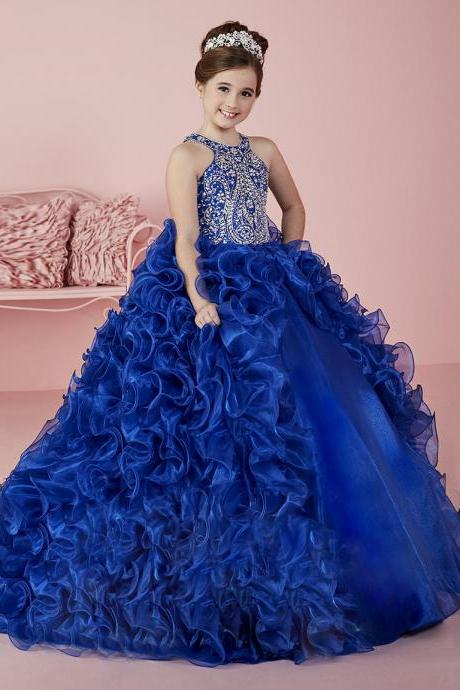 2017 New Royal Blue Halter Beaded Girl's Pageant Dresses for Child Backless Cute Princess Ruffles Sweep Train Flower Girl Dresses
