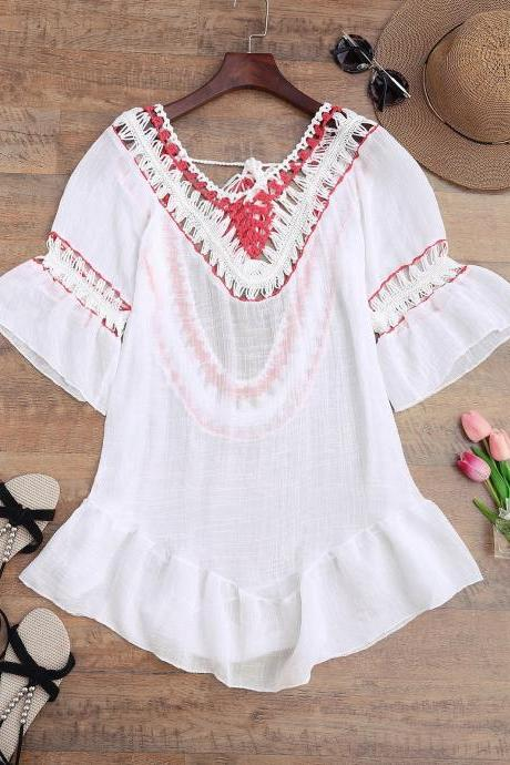 Crochet Open Back Beach Cover Up Dress - White One Size