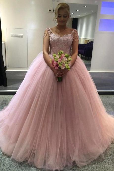 Wedding Dress , Lovely Pink Ball Gown Wedding Dress with Beading Cap Sleeves 2017