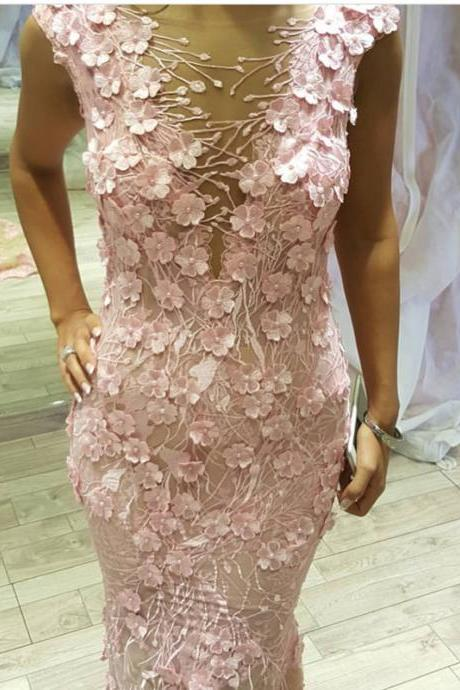 Cheap prom dresses 2017,Pink Mermaid Dress,Lace Evening Dress,Mermaid Prom Dress,