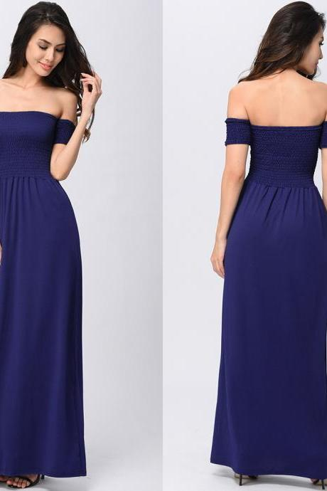 Fashion Solid Off the Shoulder Long Dress - Blue
