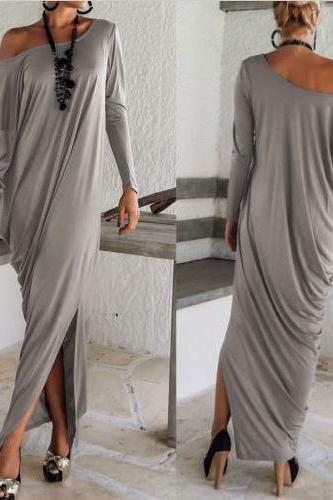 Stylish Skew Neck Straight Maxi Dress
