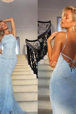 Sexy Long Prom Dress Party Dress Light Blue Formal Gown Lace