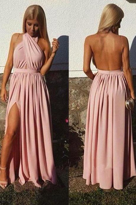New Halter Pink Sexy Backless Prom Dress,Backless Prom Dress,Cheap Prom Dress