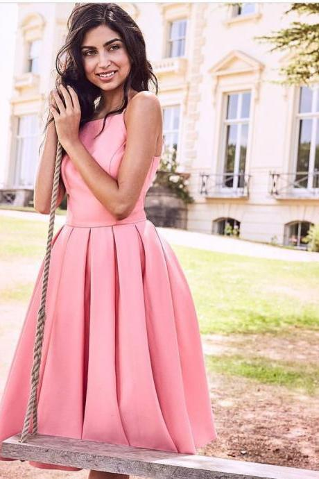 Lovely Pink Satin Midi Homecoming Dresses A-Line Spaghetti Straps Short Prom Gowns