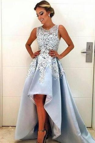 Cheap prom dresses 2017,High Low Style Prom Dresses Custom Sky Blue Lace Satin