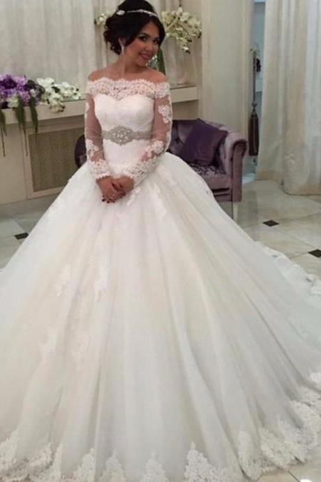 Lace Wedding Dresses, Off The Shoulder Wedding Dress Gowns, Long Sleeve Lace Bridal Dress