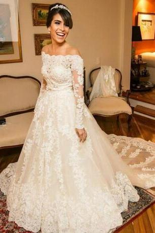 Wedding Dresses Long Sleeves 2018 A Line Bateau Full Pearls Wedding Gowns Vintage Lace Off-Shoulder Wedding Bridal Gowns