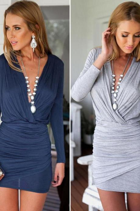 Sexy Women's V Neck Bodycon Cocktail Party Evening Clubwear Bandage Pencil Dress