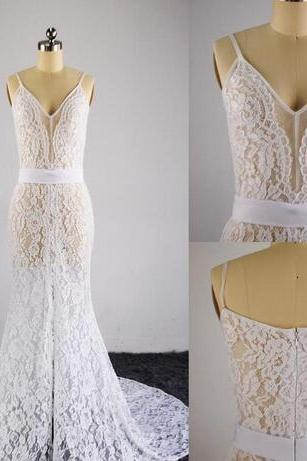 2018 Real Images Sheer Bohemian Wedding Dresses Side Split Beach Lace Illusion Back