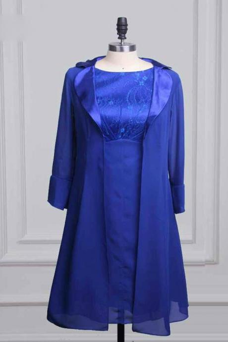 Unique Blue Mother Of The Bride Dresses With Jacket Scoop Chiffon Two Pieces