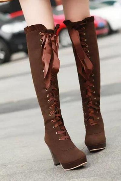 Sexy Bow Lace-Up Knee High Heeled Boots
