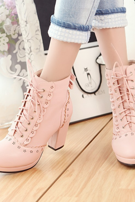 Lovely lace up solid color high heels boots
