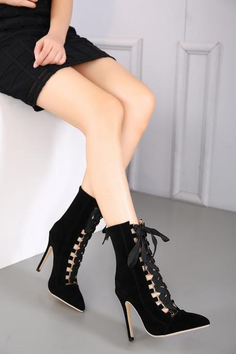 Pointed Toe Flock Leather High Pumps with Lace-Ups
