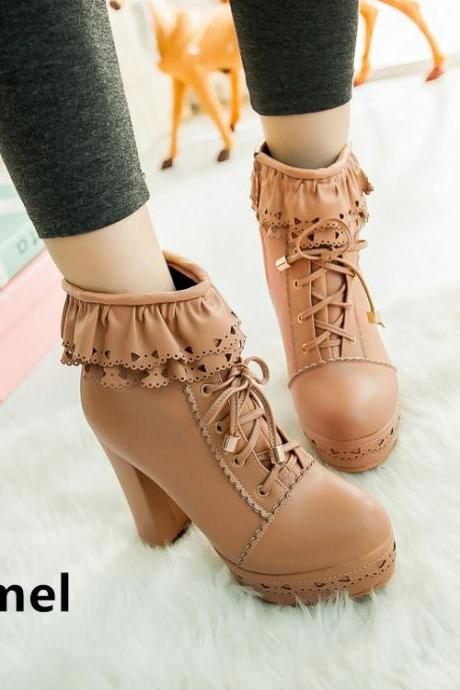 Free Shipping Kawaii Candy Color Simple High-heel Short Boots School Boots