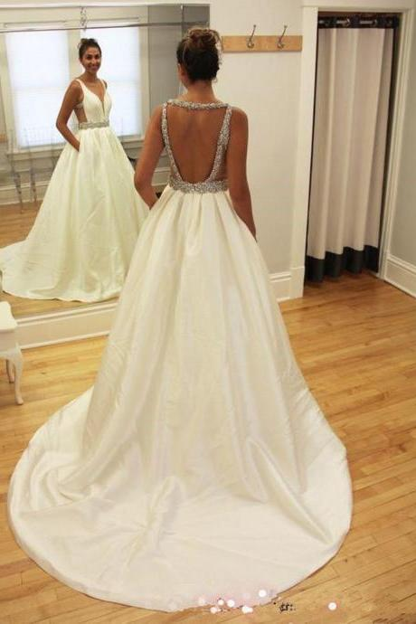 Sexy Deep V Neckline Wedding Dresses, Long Custom Wedding Gowns