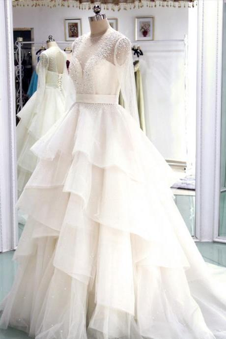Sheer Long-Sleeved Beaded A-line Wedding Dress with Tiered Ruffles