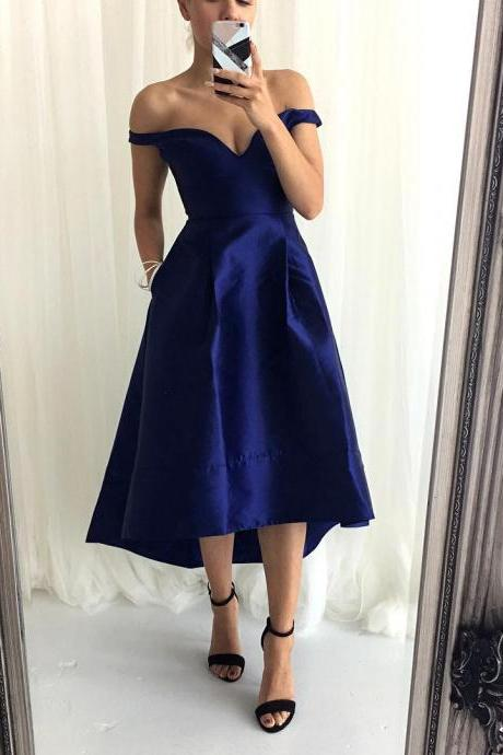 Off the shoulder High Low Navy Blue Bridesmaid Dress with Pockets