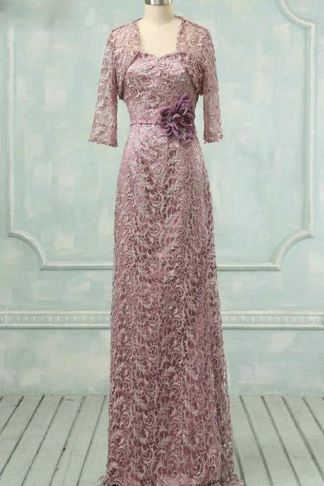 Mother of the Bride Dresses Flowers Pearls Trendy Floor Length Pink Lace