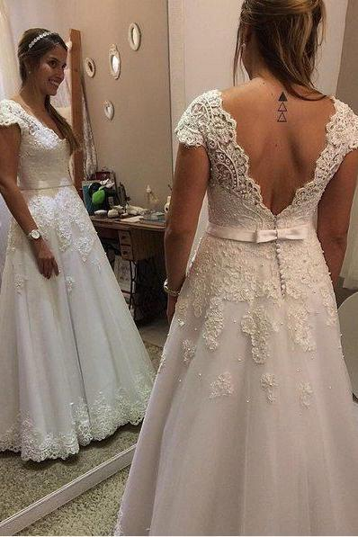 V-Neck Lace Floor-Length Wedding Dress with Cap Sleeves and V-Back