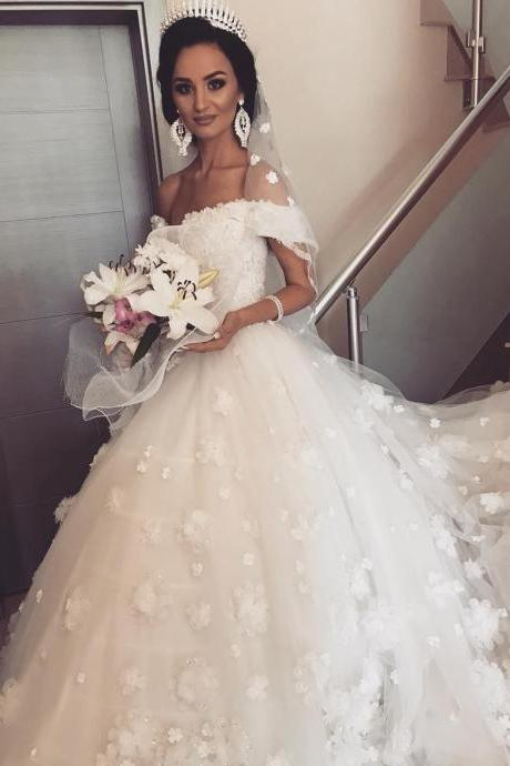 Off the Shoulder Ball Gown Wedding Dress 3D Floral Appliques Tulle Bridal Gown