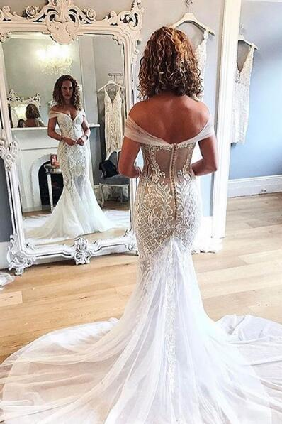 Sexy Mermaid Lace Wedding Dress, Off Shoulder Lace Wedding Dresses,Tulle Wedding Gown