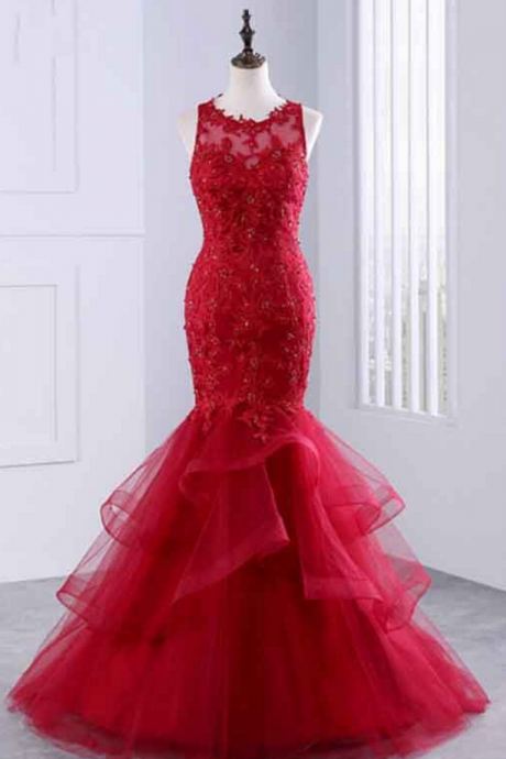 Red Round Neck Sleeveless Lace Appliqués Long Prom Dress, Evening Dress featuring Ruffled Skirt
