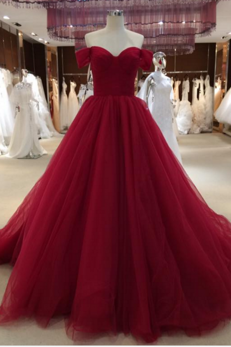 Sexy Off Shoulder Sleeves Prom Dress,Ball Gown Burgundy Prom Dress