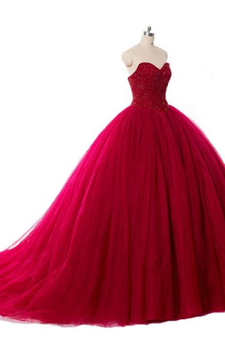 Luxury Crysal Beaded Red Ball Gown Wedding Dresses Princess Puffy Red Lace