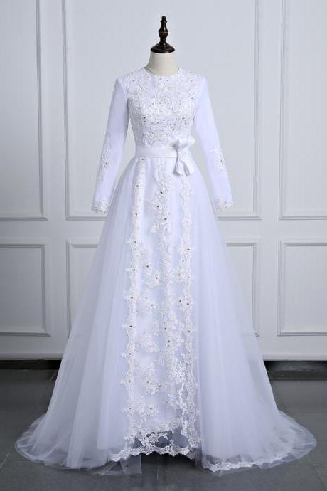 Long Sleeve Wedding Dresses 2017 Tulle Floor Length Bridal Dresses with Lace Appliques