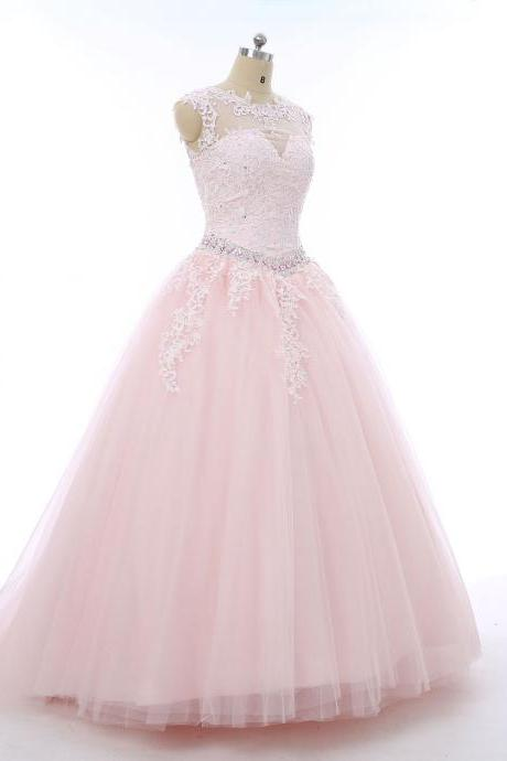 Pink Tulle Ball Gowns,Floor Length Prom Dresses,Beading Wedding Dresses