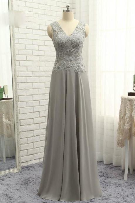 A-line V-neck Chiffon Lace Latest Gray 2017 Mother Of The Bride Dresses