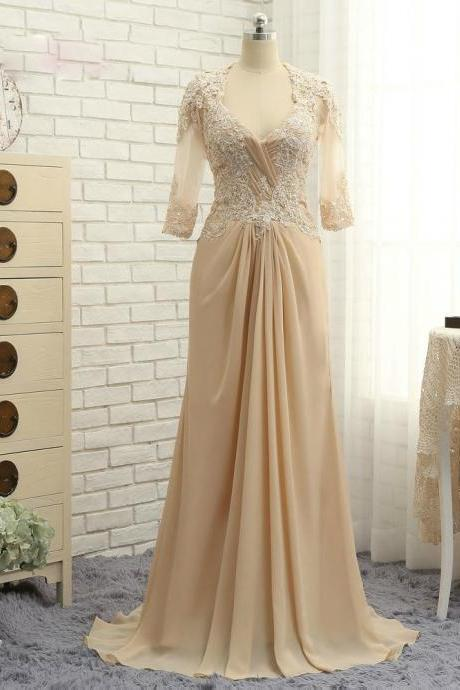 Romance Champagne 2017 Mother Of The Bride Dresses A-line Half Sleeves Chiffon