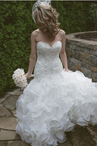 Strapless Sweetheart Beaded Mermaid Wedding Dress with Ruffled Skirt