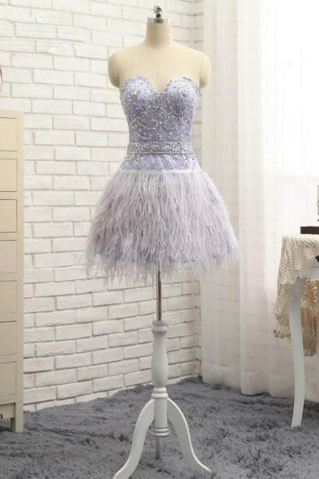A-line Sweetheart Short Mini Feather 2017 Homecoming Dresses