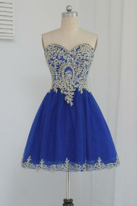 Royal Blue 2017 Homecoming Dresses A-line Sweetheart Short