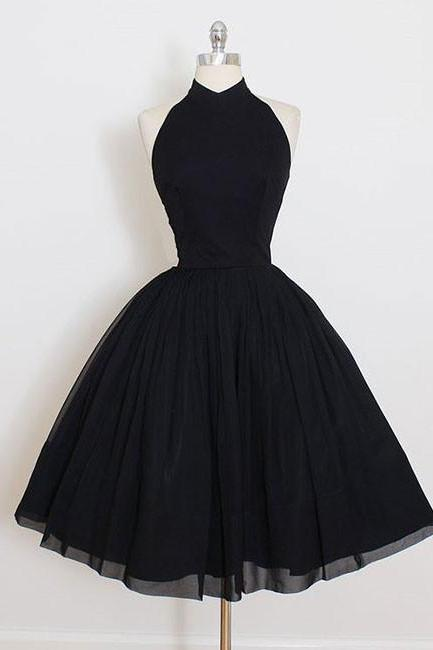 Black High Halter Neck Short Skater Dress, Little Black Dress