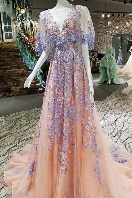 Vintage Party Prom Dresses, V-Neck Prom Dresses, Applique Prom Dresses, A-Line Prom Dresses, Floor-Length Prom Dress,