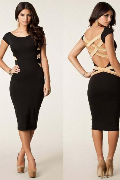 European Fashion Women Sexy Knee Length Bodycon Bandage Dress Celebrity Casual Dress