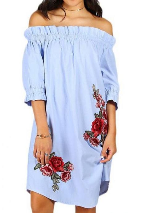Blue Floral Off Shoulder Ruffle Shift Dress with Floral Embroidery