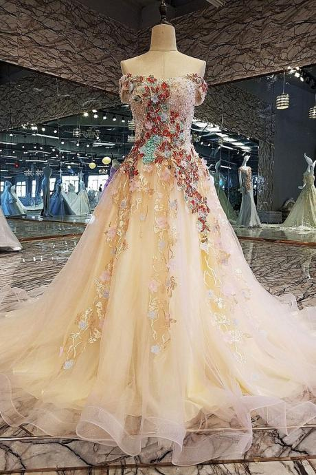 Champagne tulle lace applique long prom dress, tulle evening dress