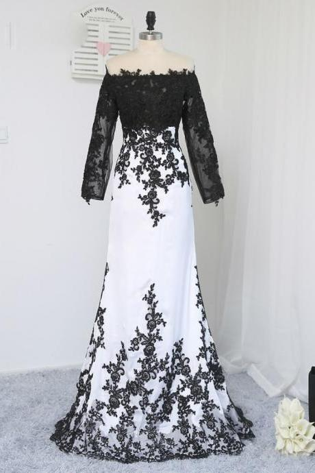 2017 Long Sleeves Evening Dress Black White Appliques Formal Celebrity Dresses Mermaid