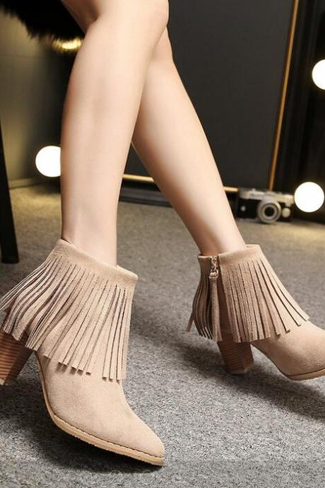 Fashion Tassels Pointed Martin Boots High Heels