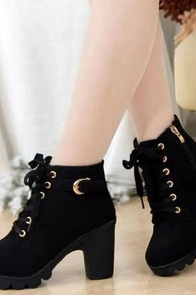 Women Leather Peep Toe Lace Up High Heel Ankle Boots