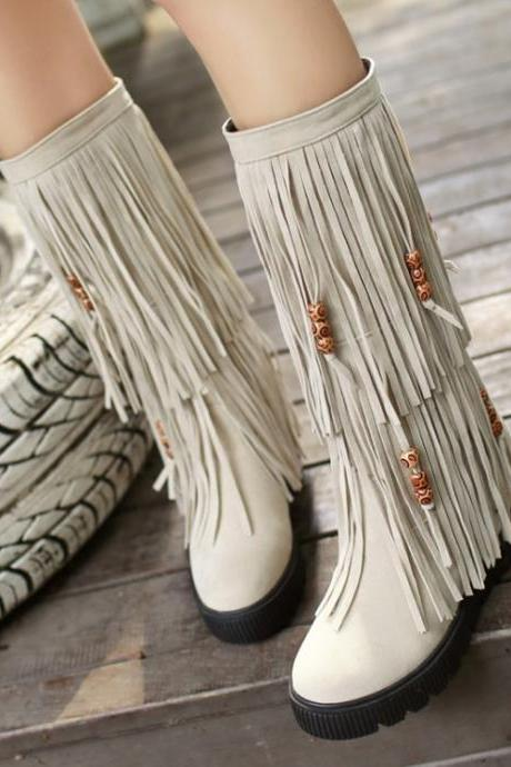 Women's Pure Color Flat Heel Suede Tassel Medium Length Boots