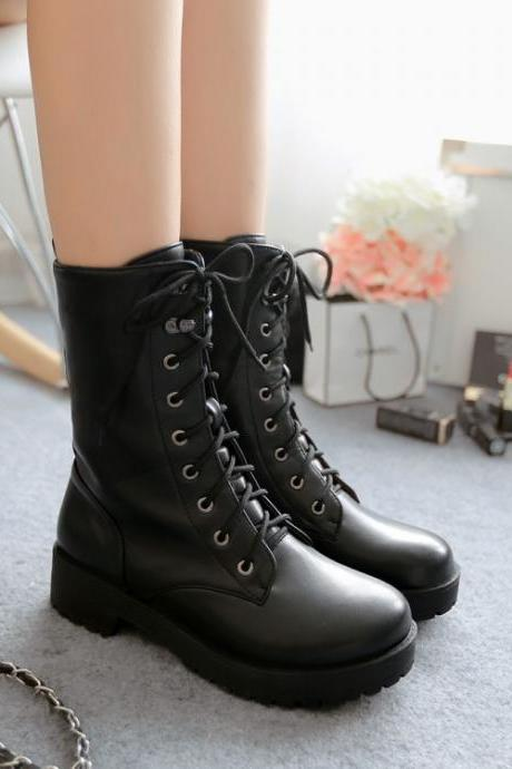 Classic Black Lace Up Flat Short Boots