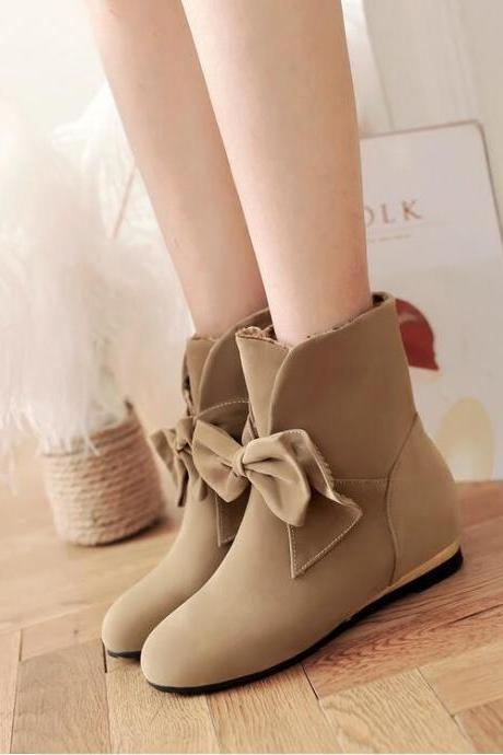 Women's Sweet Pure Color Fashion Wedge-heeled Ankle Boot With Bowknot Decoration