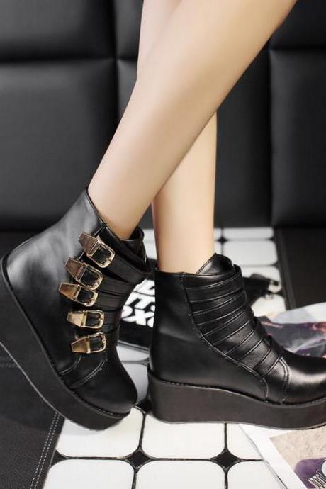Women's Pure Color Flat Heel Buckle Short Boots