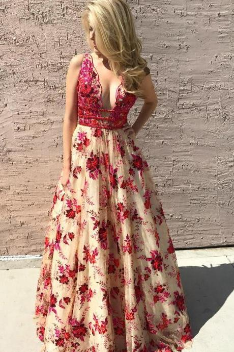 Luxurious Floral Embroidery Long Formal Dress Prom Dress