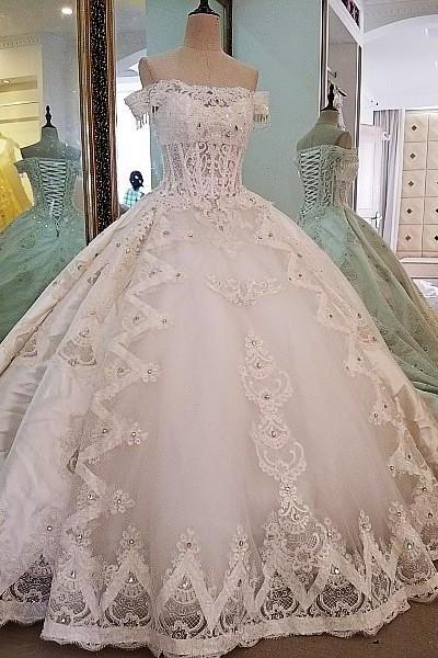 ivory bridal gown lace beading off the shoulder ball gown lace wedding dress